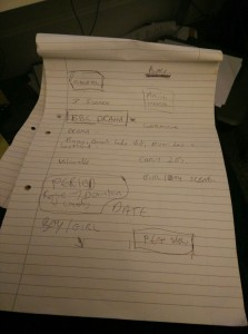 Initial notes from Aimee Barrett's showreel meeting two years ago.